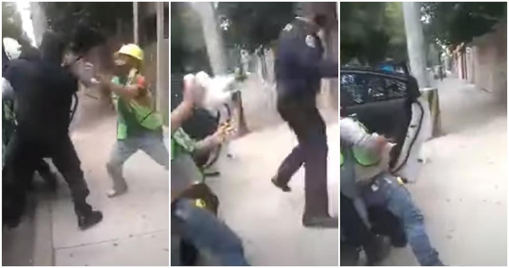 """""""¿Cómo no agarran a los rateros?"""". Mujer graba a policías de CdMx cuando sometían a un albañil"""