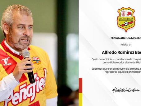 Atlético Morelia felicitó hoy a Alfredo Ramírez por ganar la gubernatura