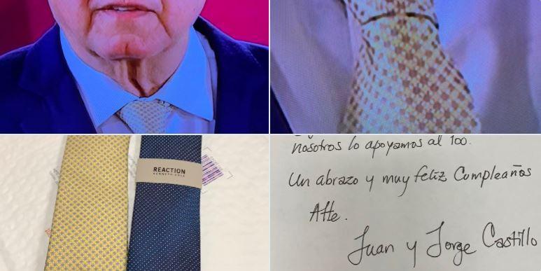 Migrantes mexicanos en EU envían corbatas a #AMLO y las luce en la mañanera