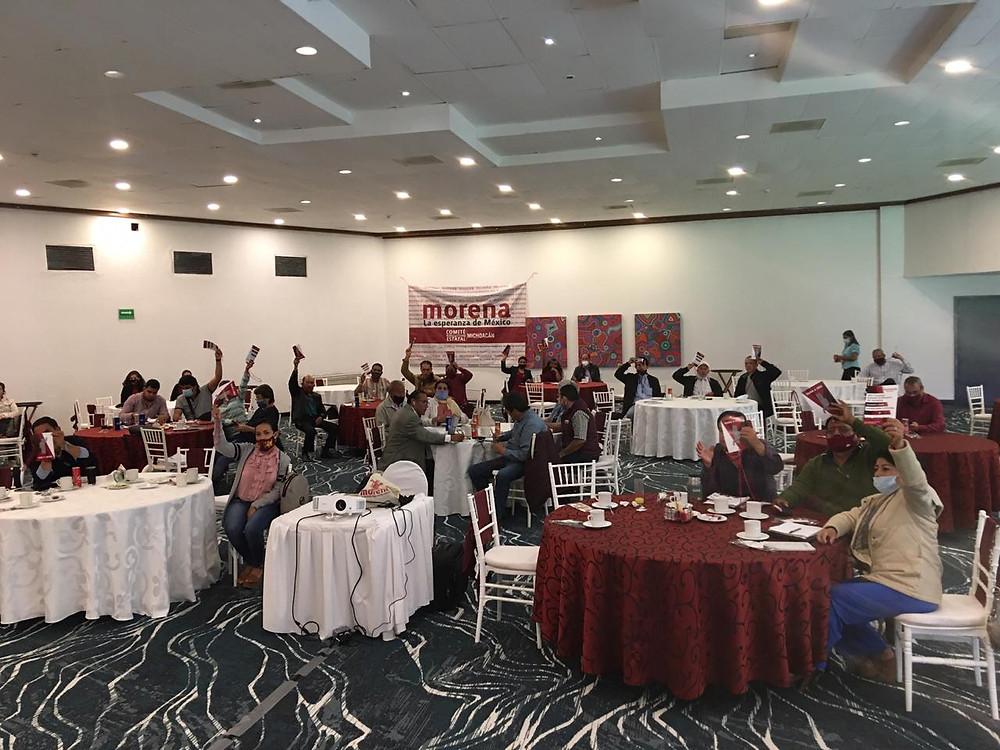 Autodenominada dirigencia de Morena en Michoacán, no logra de nuevo quorum en Consejo Estatal