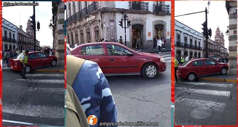 """¿Hartazgo ciudadano"""" chavo estampa su auto contra el congreso del estado - Emprendedorpolitico.com"""