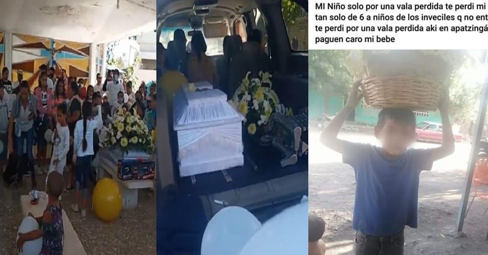 """Entre consignas """"Ni una bala más"""", apatzinguenses despiden al """"Guerito"""", fallecido por bala perdida"""