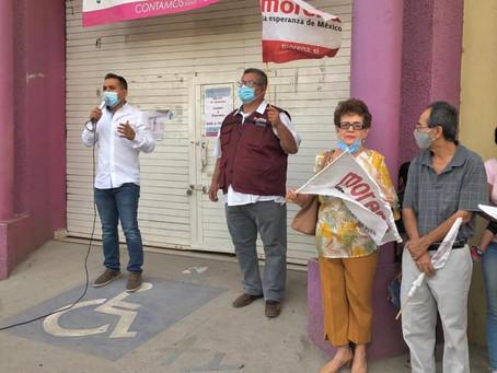 Morenistas de Apatzingán se movilizan a favor de Raúl Morón