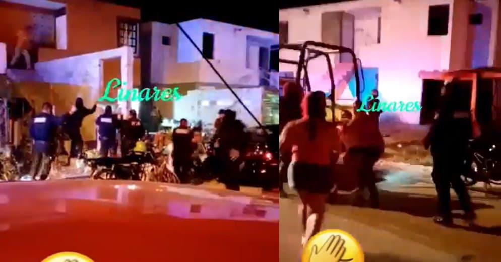 Directo en el subdesarrollo: Policías van a suspender fiesta 'ILEGAL'; parranderos los GOLPEAN