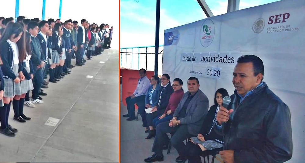 Alcalde asiste a la ceremonia de inicio de cursos en el CECYTE Plantel Acámbaro