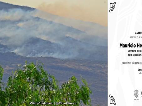 Fallece bombero de Morelia mientras combatía incendio forestal en el Cerro del Águila