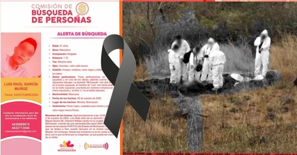 Joven moreliano con reporte de 3 días desaparecido, es encontrado sin vida este domingo