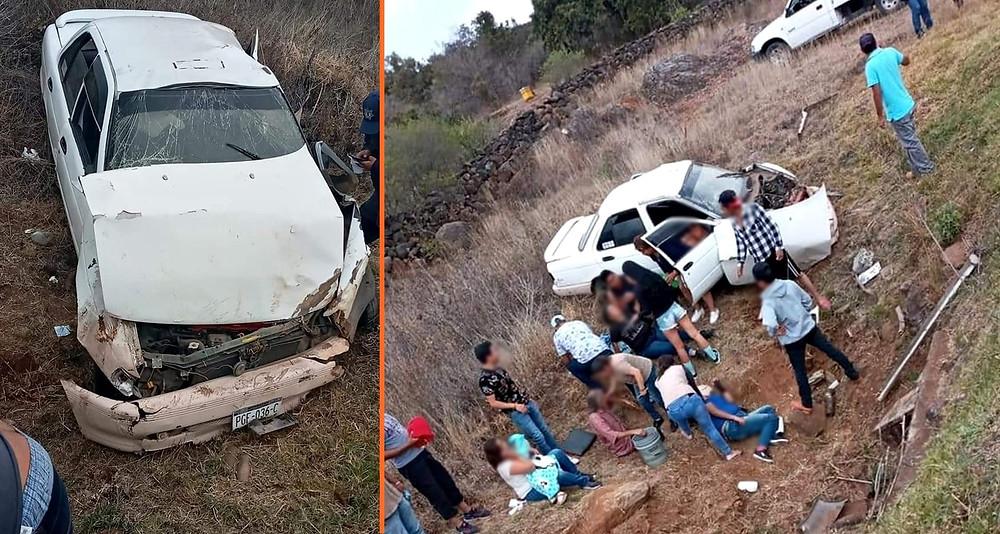 """Familia que viajaba en tsuru, se accidentó en la localidad de """"El Tigre"""", (+Fotos)"""