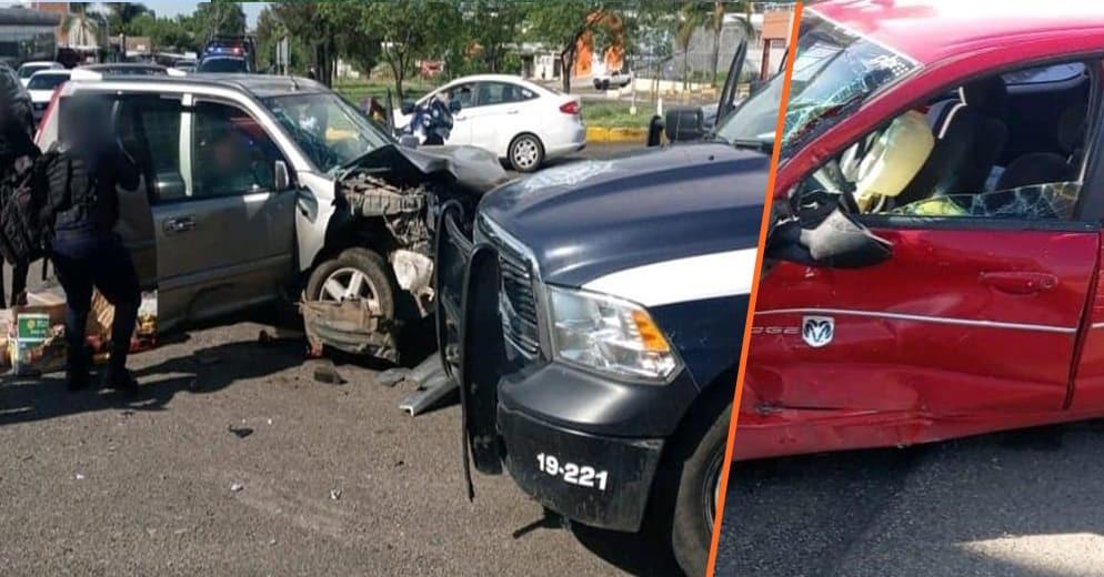 Morelia: Carambola entre dos vehículos particulares y una patrulla, dejan una mujer lesionada