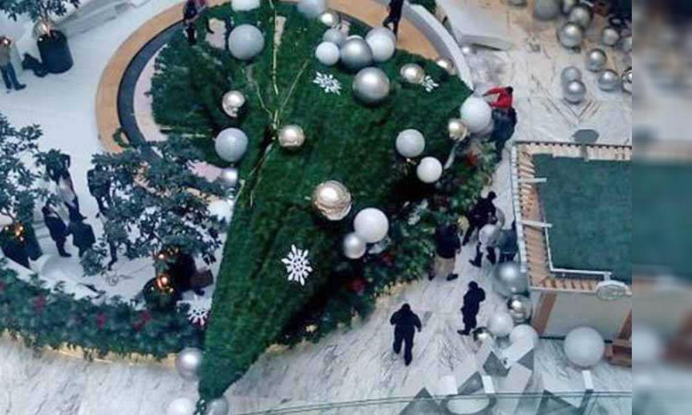 Cae mega árbol de Navidad en CDMX y aplasta a una persona (+Video)