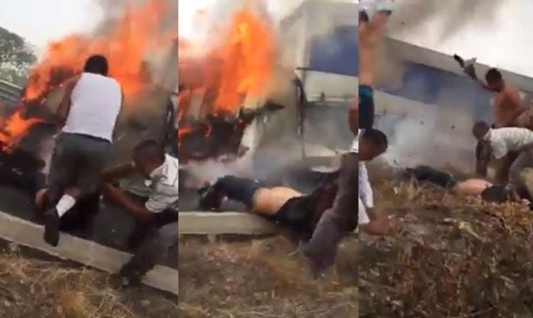 VIDEO: Tras accidente automovilístico se incendia un camión y civiles salvan a los lesionados.