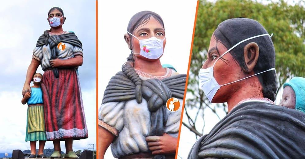 Por concientización colocan cubrebocas en el monumento a la madre purhépecha de Paracho