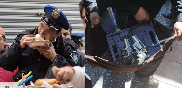 Policías se paran por un taco y les roban sus armas en Querétaro