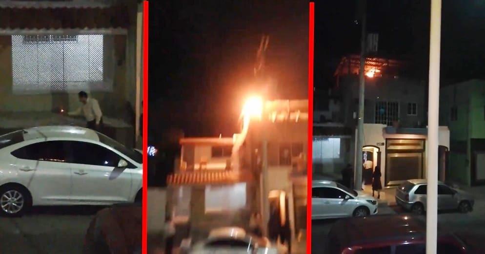 Truenan cohetes y terminan con el techo de su casa en llamas (+Video)