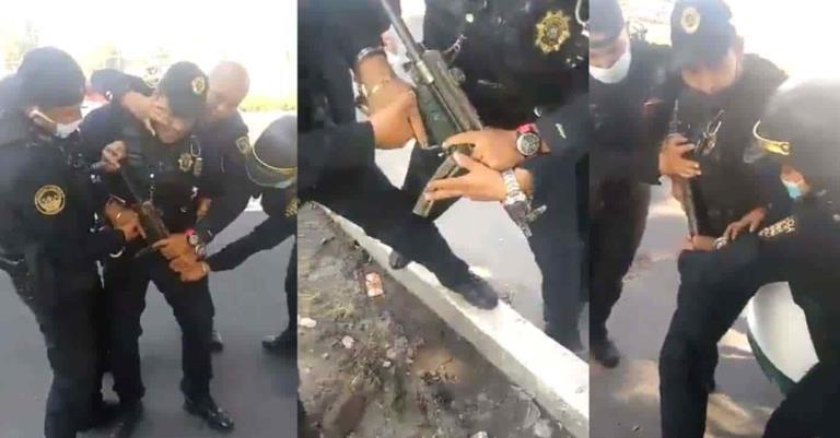 Policías de CDMX forcejean en retén falso y se les escapan unos balazos