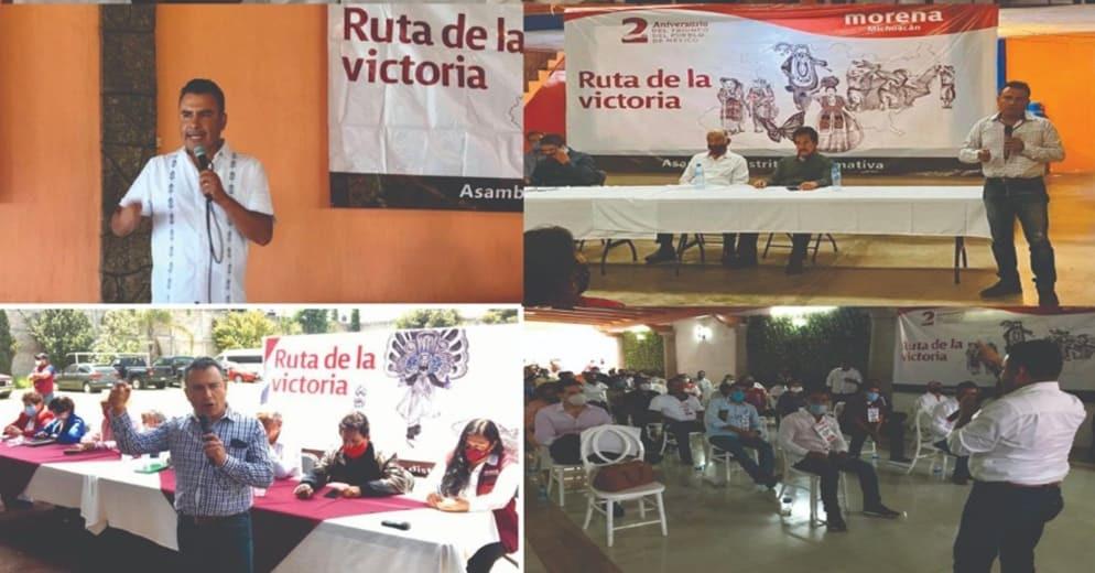 Bases acusan que autonombrado CEE de Morena realice rutas de la victoria para promover a perredista