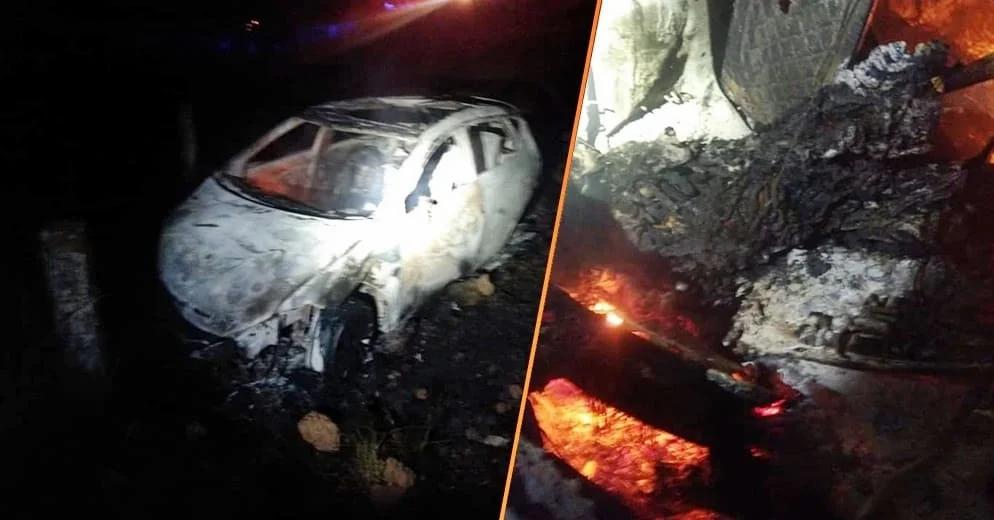 Fallece calcinado en Michoacán tras chocar su vehículo este sábado (Fotos)