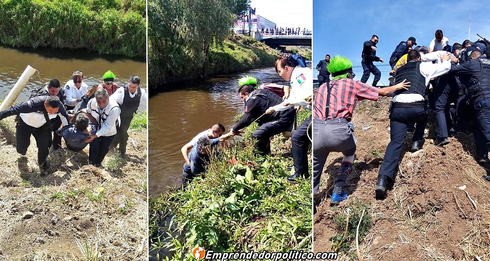 #Morelia: polis y hasta un payaso salvan a un abuelito de morir ahogado en Río (+Video)