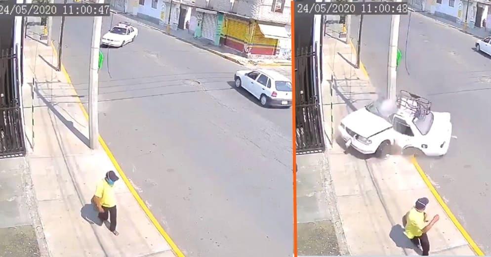 Taxista muere prensado al chocar contra un poste; peatón se salva de milagro (+Video)
