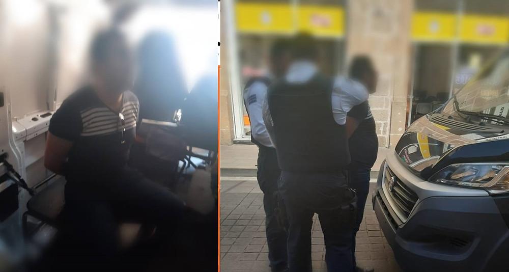 Carlos A. tiró basura en calles del Centro de #Morelia y al hacer caso omiso de polis, lo detienen.
