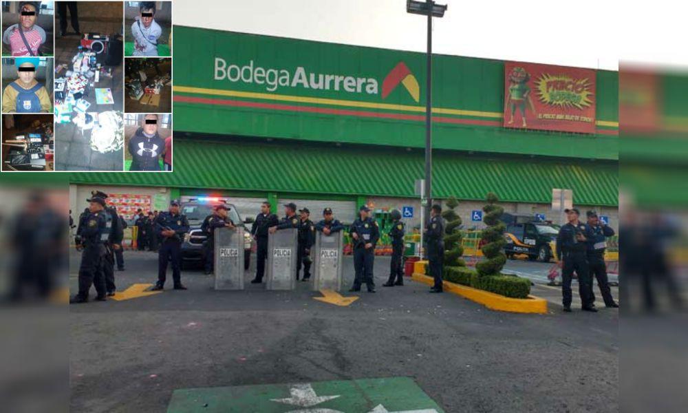 Clientes de una tienda Aurrera detienen a una banda de asaltantes ¡A golpes!