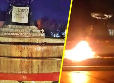 Icono de Morelia como portavoz de justicia, fue incendiado anoche y esta mañana  teñido de rojo