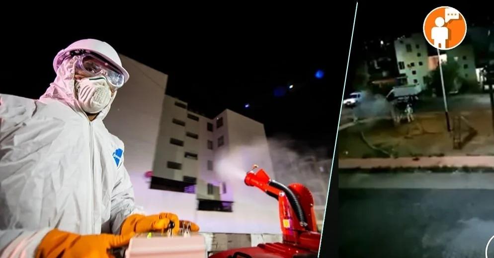 Así se sanitizó durante la madrugada Villas del Pedregal, el fracc. más grande de LATAM (+Video)