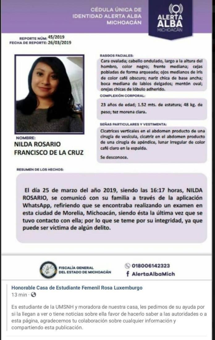 Vinculan a proceso al culpable de desaparición de estudiante de la UMSNH; era su novio