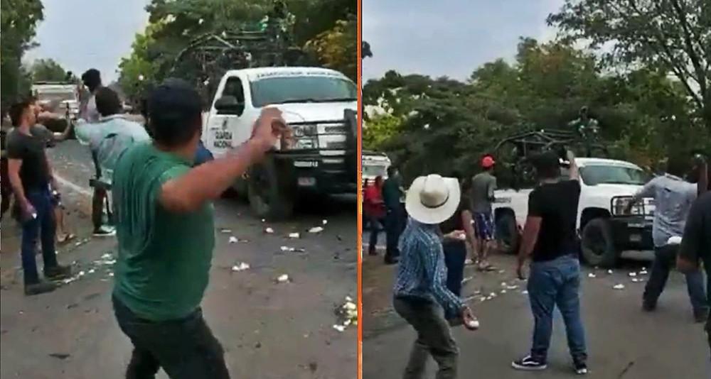A huevazos y balazos, repliegan a la Guardia Nacional para proteger a narco en Apatzingán (+Video)