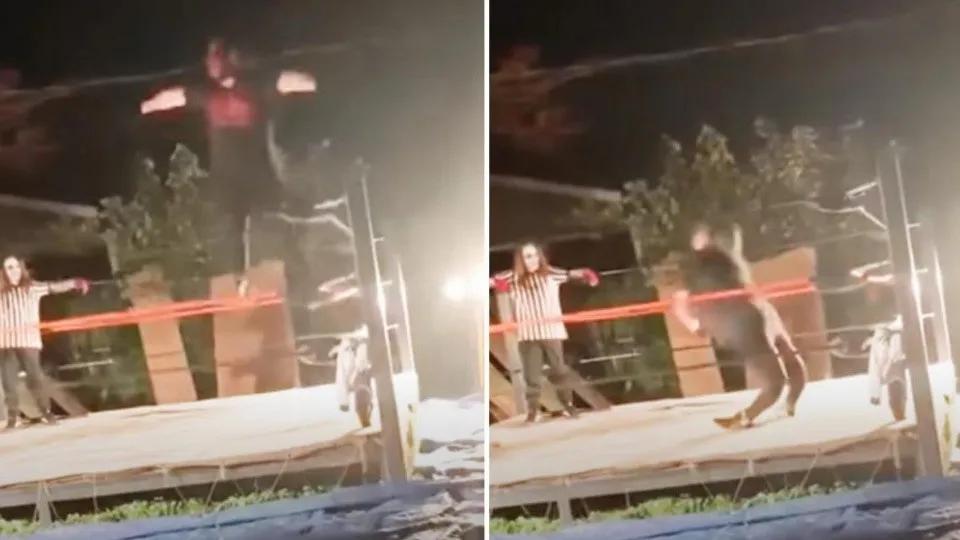 Espeluznante momento en que luchador amateur se parte ambas piernas
