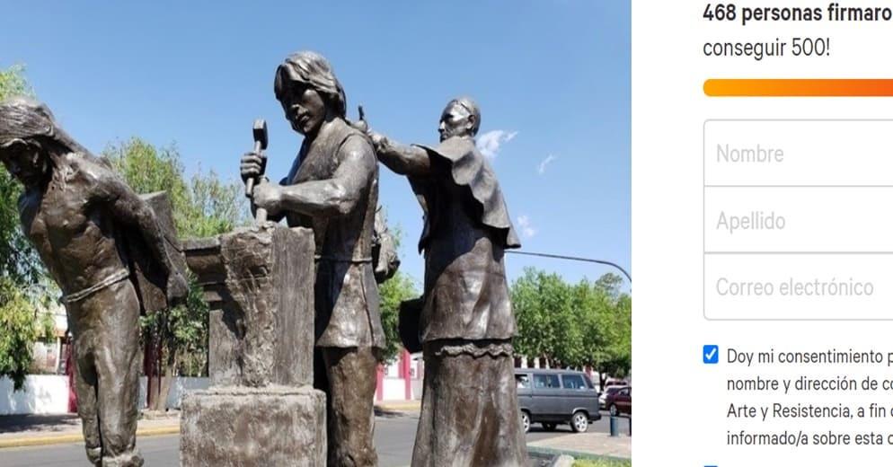Piden remover escultura ubicada al inicio del Acueducto por enaltecer explotación y abuso colonial