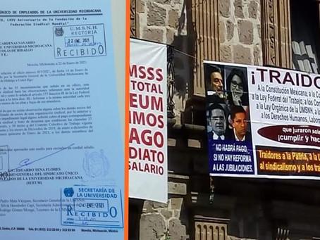 SUEUM y profesores del SPUM exigen pagos de adeudos a las autoridades universitarias