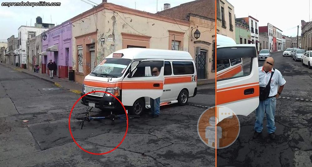 #DenunciaCiudadana: Chofer de la Naranja 3 atropella a ciclista en el centro de Morelia
