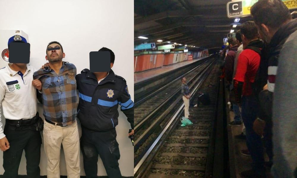"""Video """"Ese no es pedo mío wey"""" grita borracho a usuarios tras arrojar a policía a las vías del metro"""