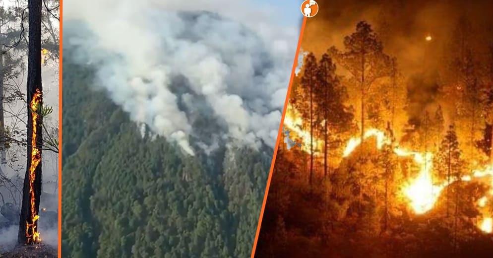 Así es como Zitacuarenses continuan luchando contra el fuego del Cerro del Cacique (+Video)