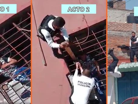 Rata humana queda atrapada en casa que quería robar; es atrapado por polis acróbatas (+Videos)