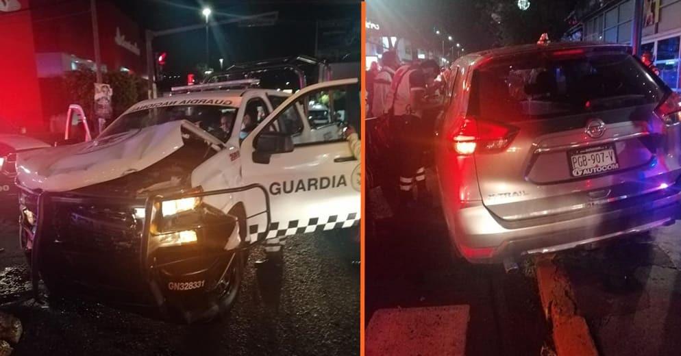Patrulla de la Guardia Nacional y auto particular chocan en Morelia (+Fotos)