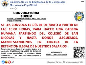 Mañana el SUEUM realizará 'cadena humana' en el centro de Morelia para exigir pagos atrasados