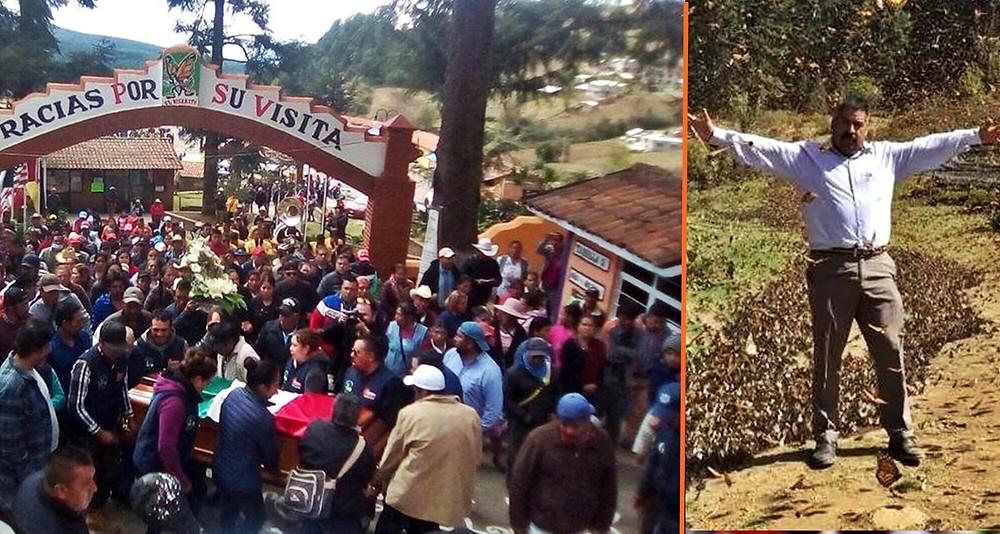 Habitantes de Ocampo despiden los restos del activista Homero Gómez en Santuario Monarca