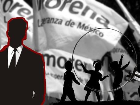 Militancia acusa que este aspirante morenista viola Ley electoral al usar niños para su promoción
