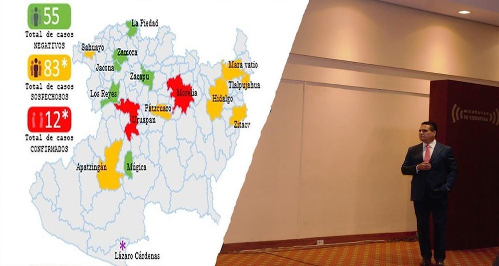 8 municipios de Michoacán en observación: 12 casos confirmados de Coronavirus y 12 sospechosos