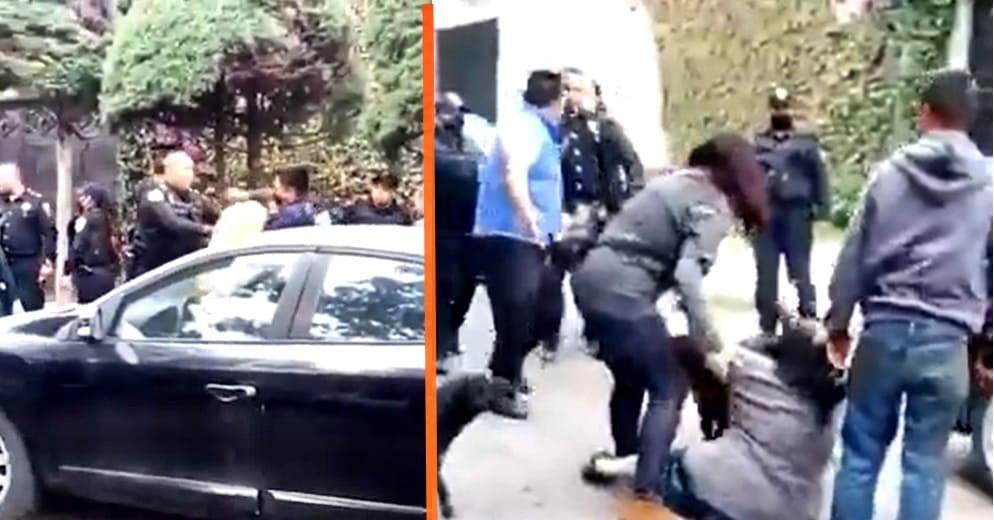 Policía detiene a acosadores y vecinos los rescatan (+Video)