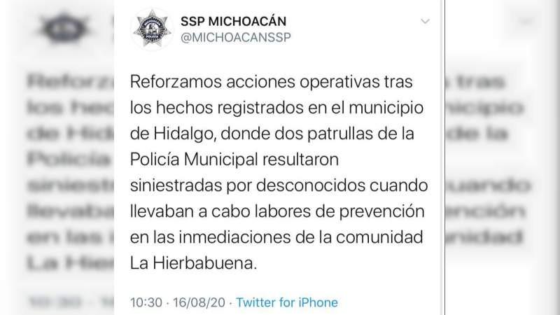#Michoacán: Narcovirus desarma y deja heridos a policías; quemaron sus unidades