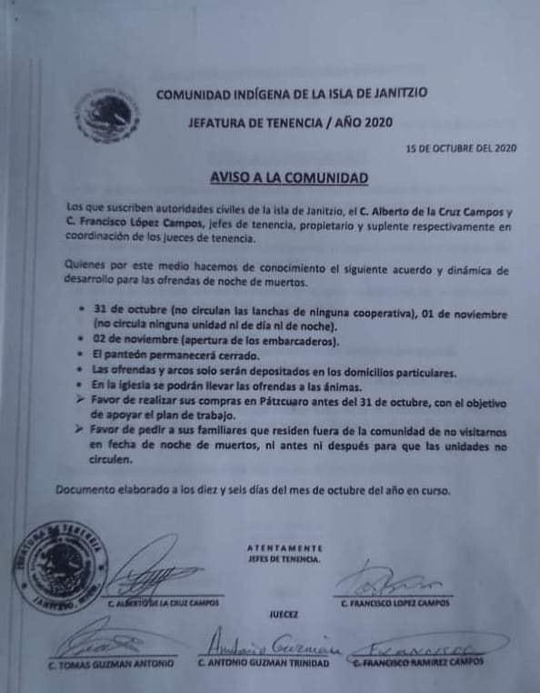 Lo reiteran, islas del Lago de Pátzcuaro cierran sus fronteras durante noche de muertos