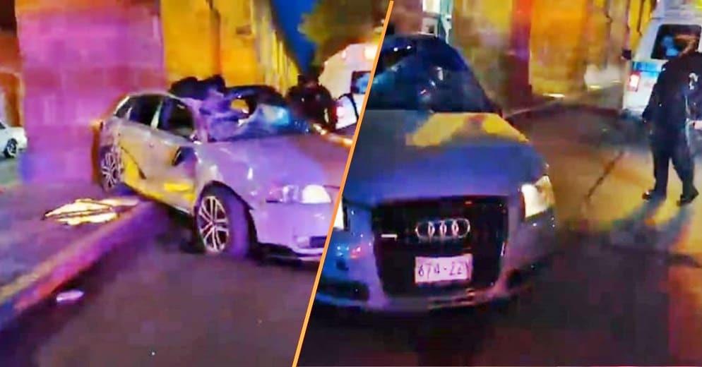 #Morelia: Audi choca contra auto y arco del Acueducto (+Fotos)