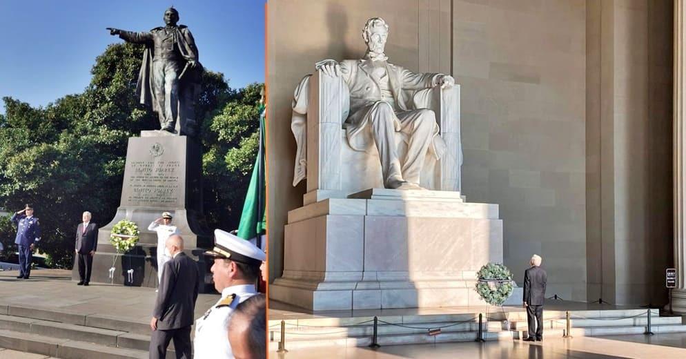 AMLO inicia su gira en E.U.A depositando ofrendas florales a Lincoln y Juárez