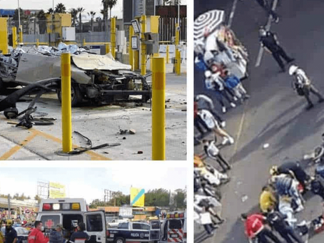 El video que muestra a un automovilista atropellando a varias personas en la frontera Méx-EU
