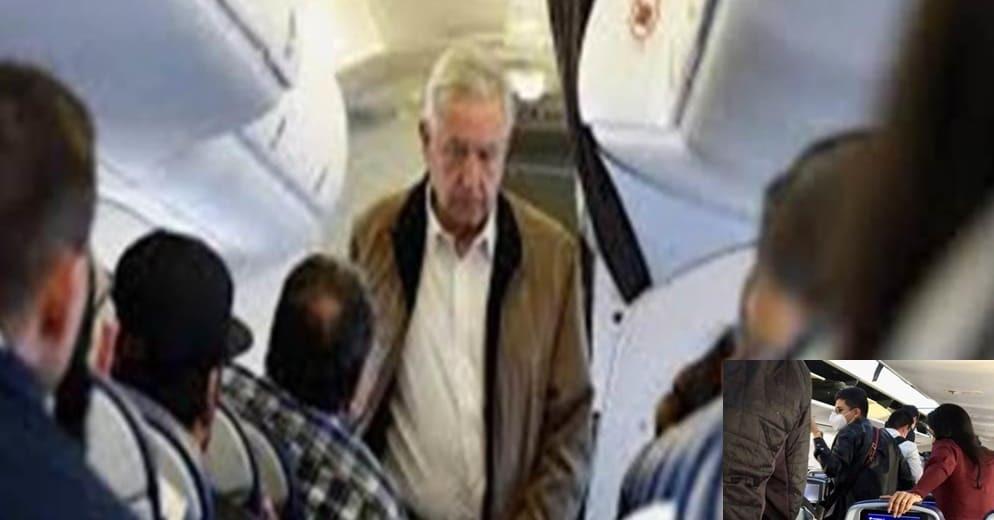 AMLO recibe insultos de pasajeros en su vuelo de regreso a la CDMX