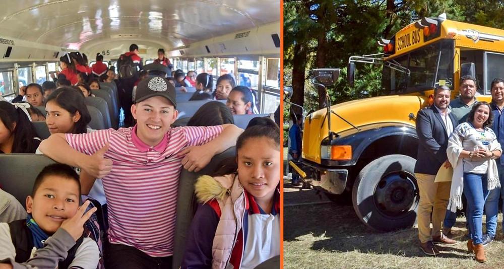 Joven estadounidense compra un autobús escolar y lo dona a niños de #Michoacán