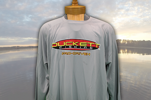 DUCKETT FISHING GREY MICRO FIBER LONG SLEEVE T-SHIRT